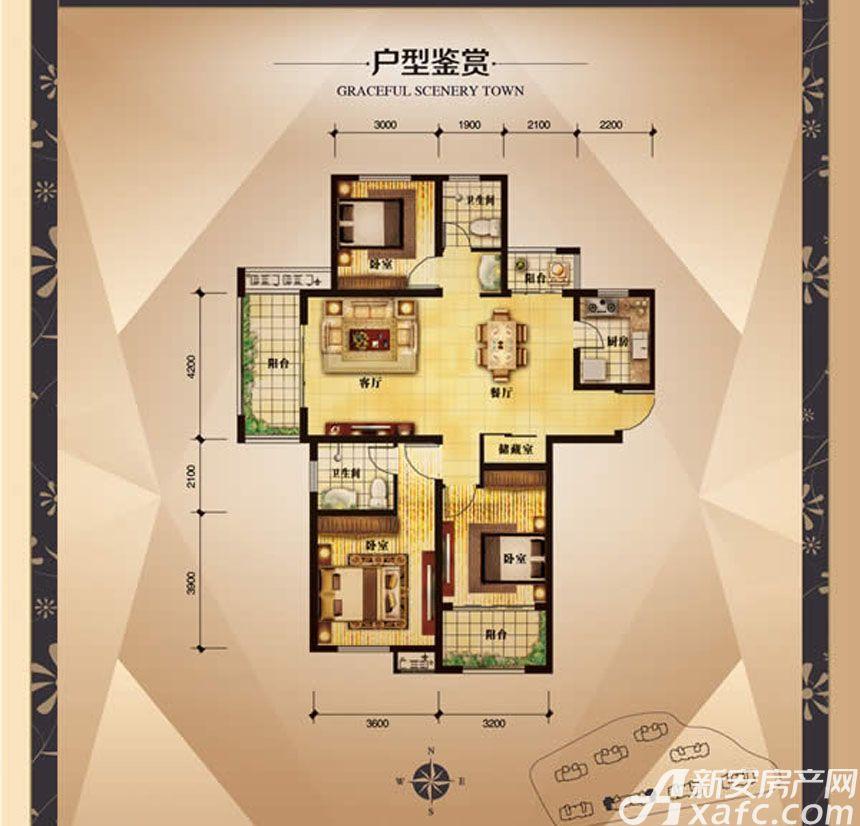 大发宜景城3期C1户型3室2厅124.03平米