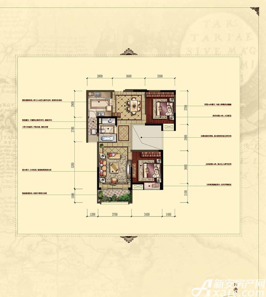 汇峰广场D3户型2室2厅94.82平米