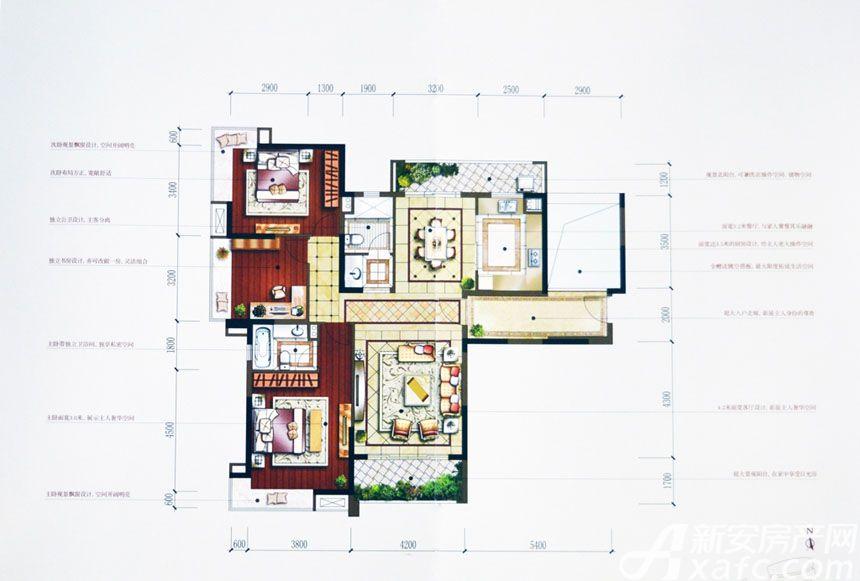 汇峰广场D1户型3室2厅143.91平米
