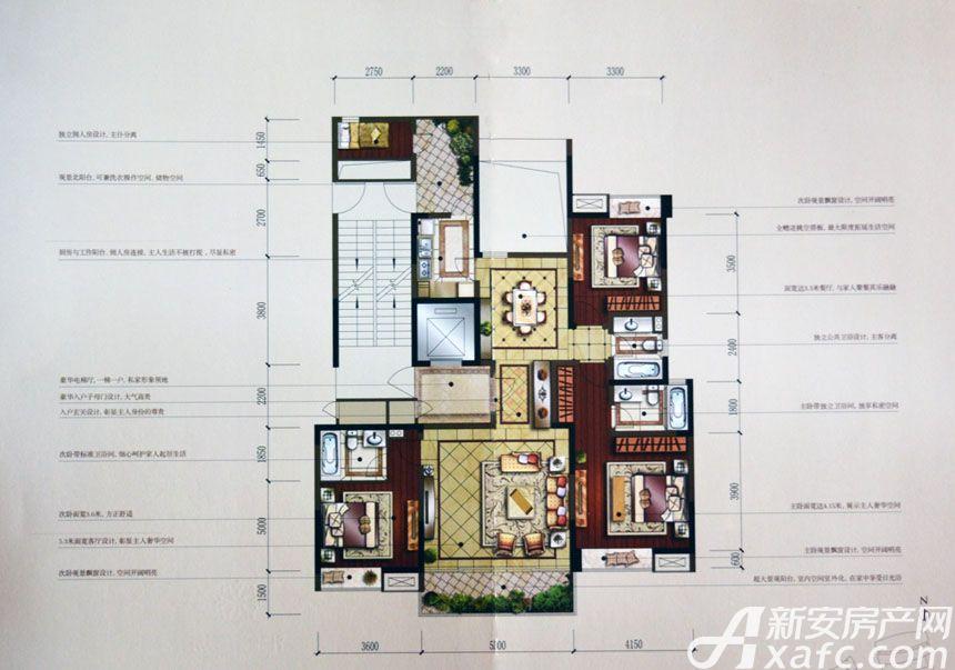 汇峰广场E4户型3室2厅158.86平米