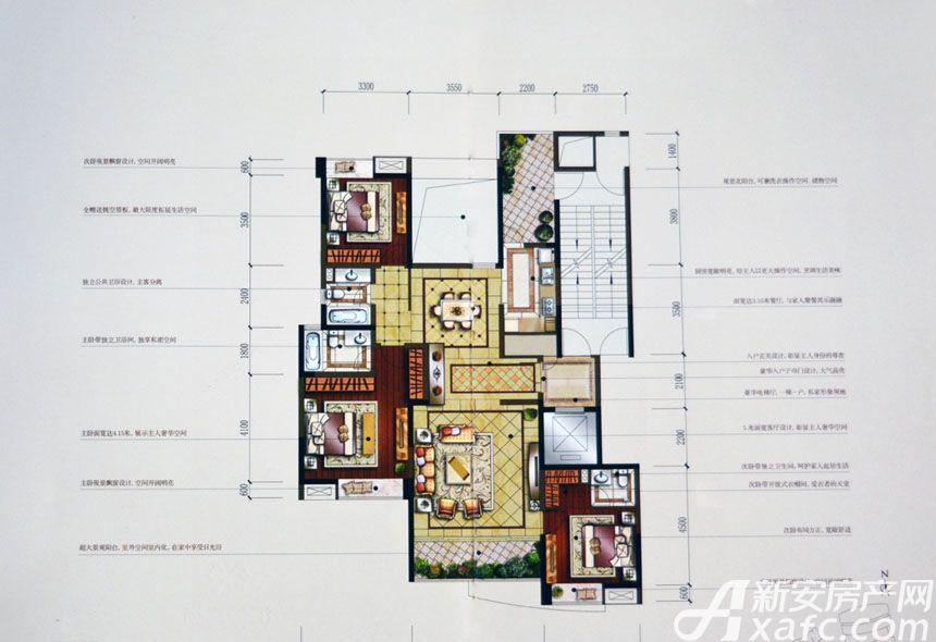 汇峰广场E5户型3室2厅153.84平米
