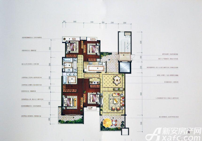 汇峰广场F1户型4室2厅183.21平米