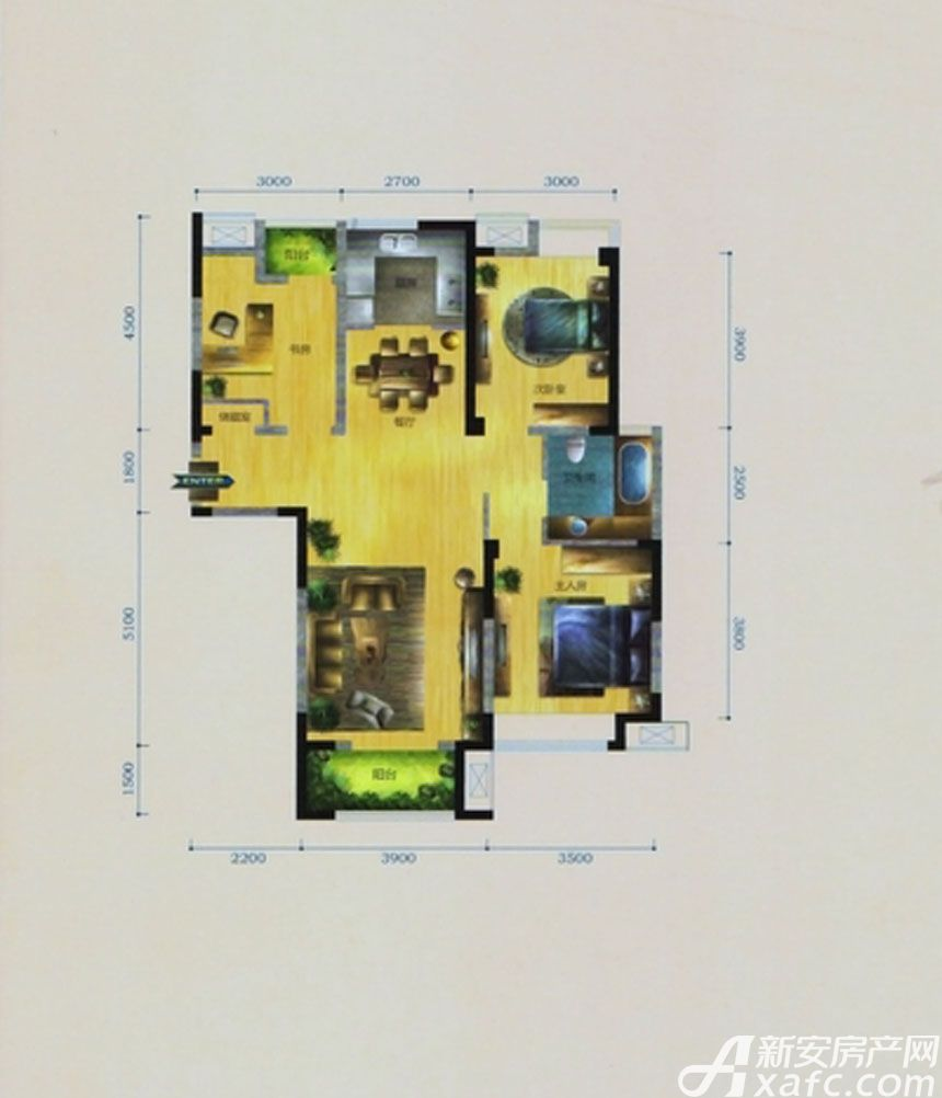 华茂1958D1户型3室2厅110平米