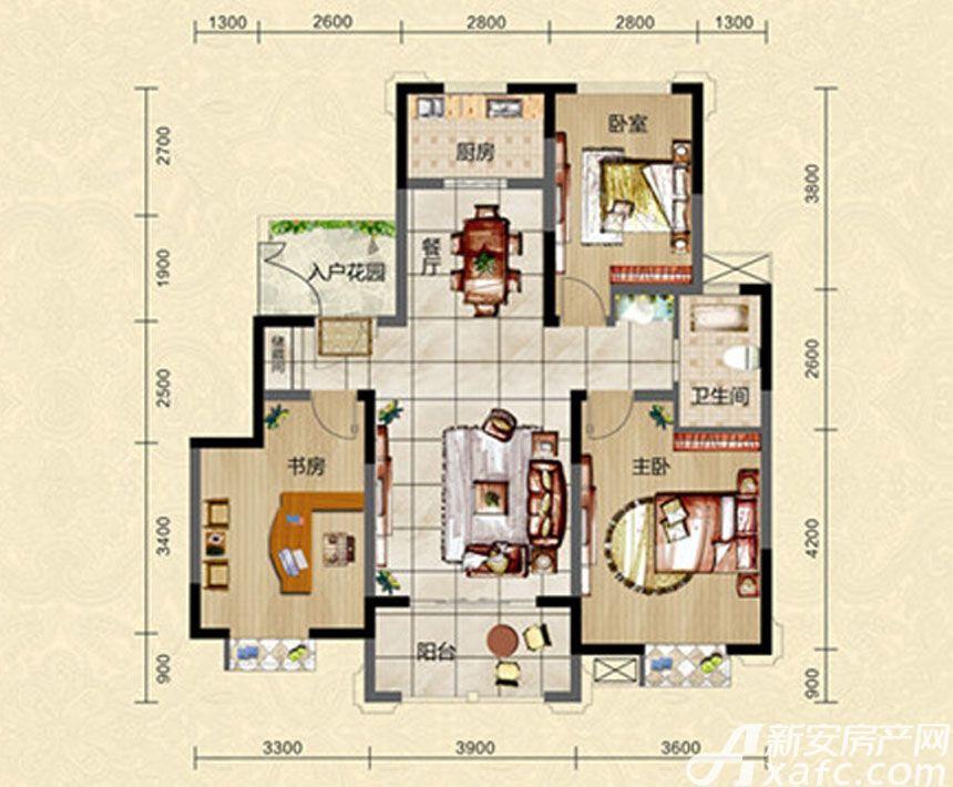 迎春颐和城三室两厅两卫H1户型图3室2厅108.29平米