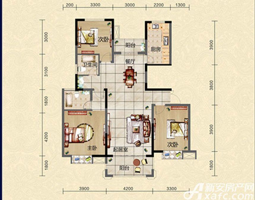 迎春颐和城三室两厅两卫L2户型图3室2厅127.13平米