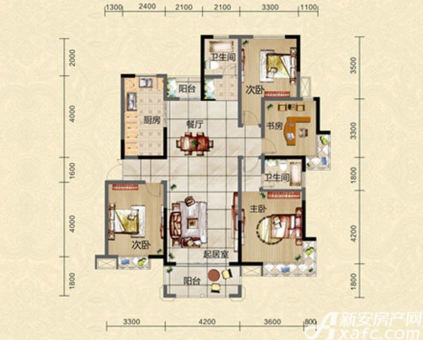 迎春颐和城四室两厅两卫L1户型图4室2厅147.82平米