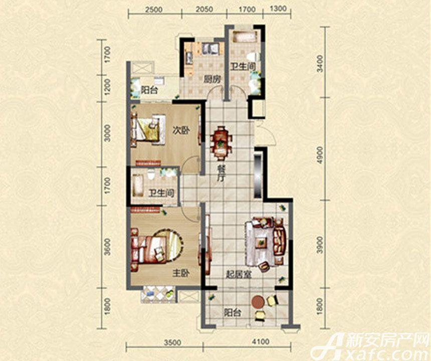 迎春颐和城两室两厅两卫E1户型图2室2厅97.64平米