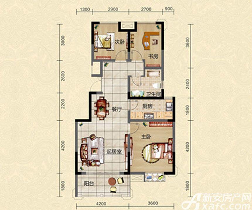 迎春颐和城三室两厅一卫C1户型图3室2厅99.04平米
