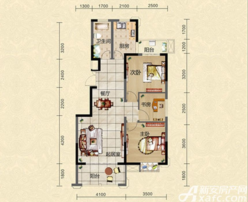 迎春颐和城三室两厅一卫E2户型图3室2厅101.21平米