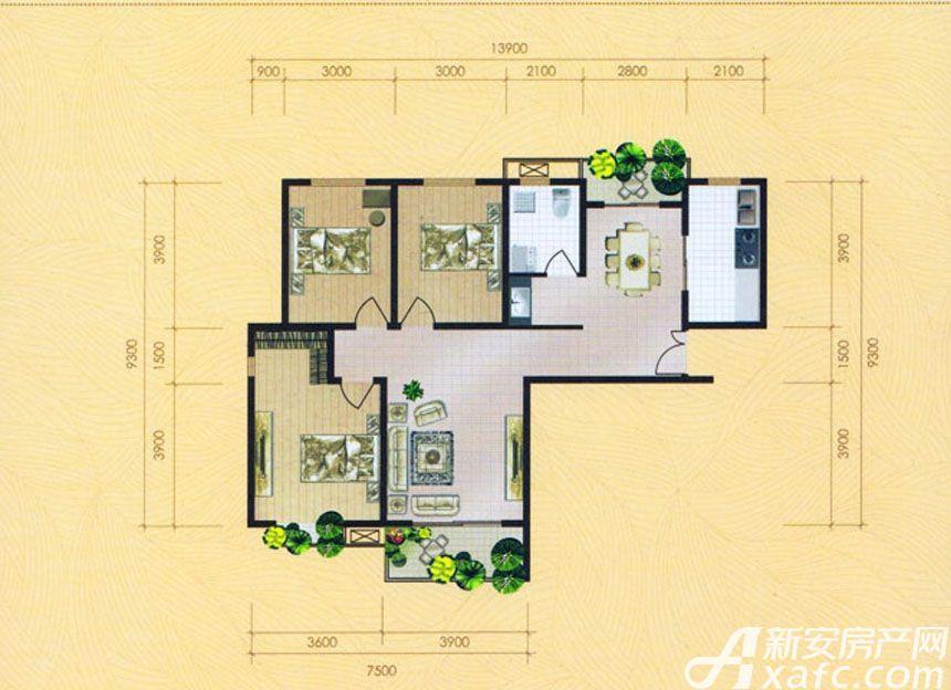 大地凤凰城三室两厅一卫H3户型3室2厅120平米