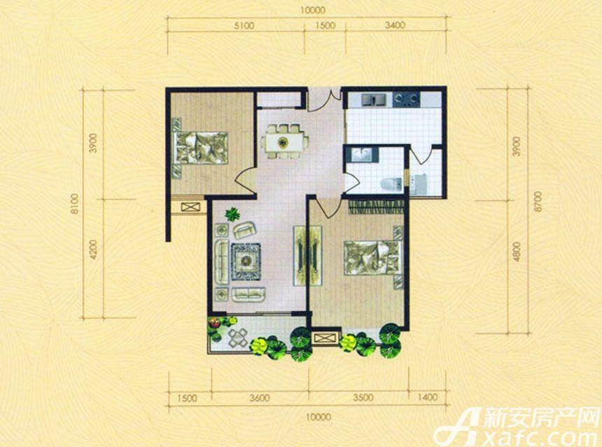 大地凤凰城两室两厅一卫H2户型2室2厅88平米