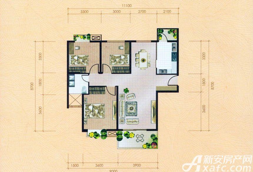 大地凤凰城三室两厅一卫C1户型3室2厅114平米