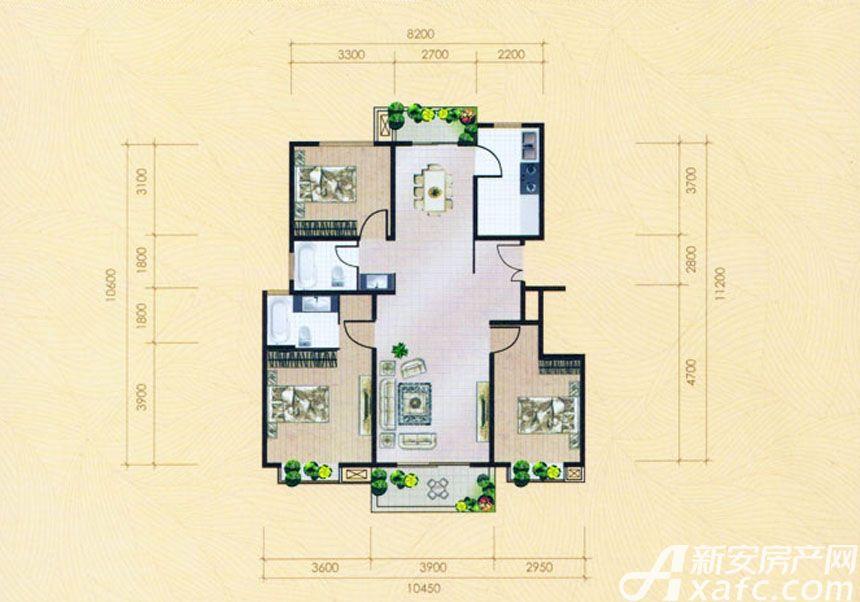 大地凤凰城三室两厅两卫G1户型3室2厅120平米