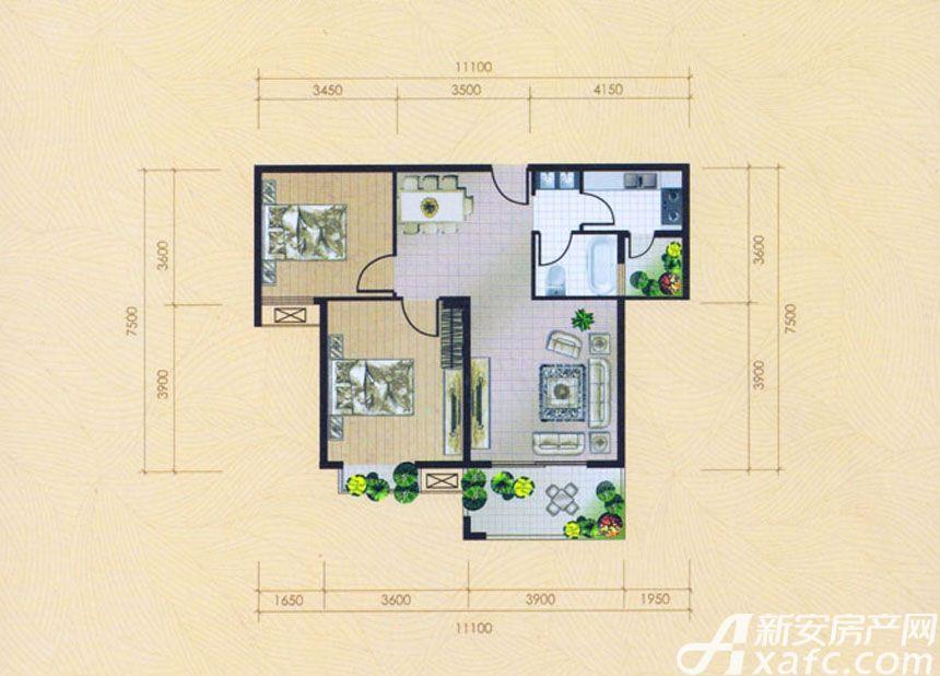 大地凤凰城两室两厅一卫C2户型2室2厅89平米