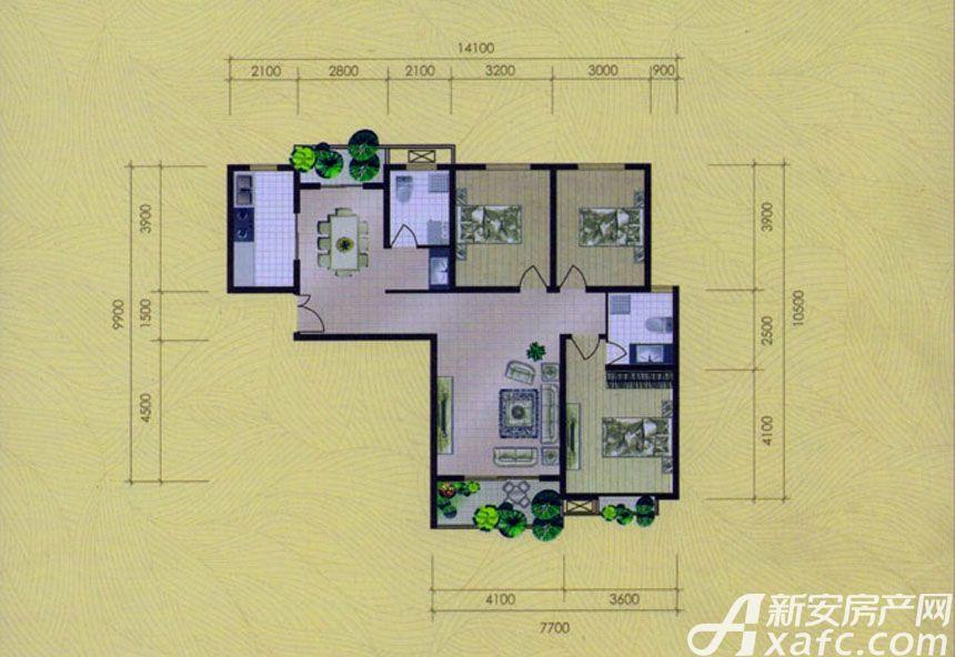 大地凤凰城三室两厅一卫H1户型3室2厅131平米