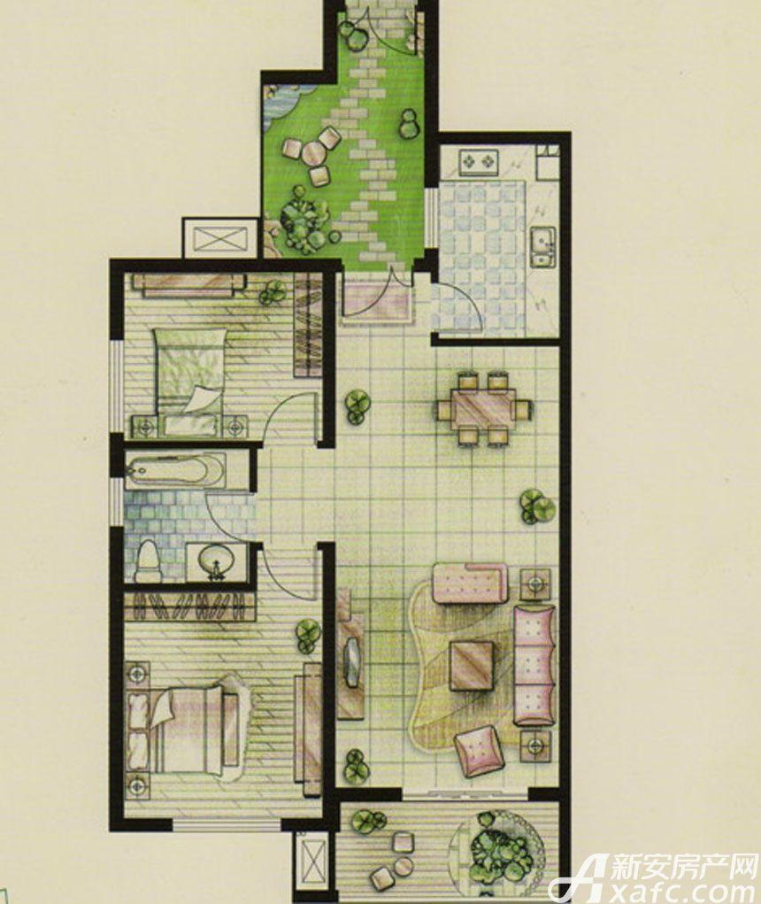 新文采东湖一品B#楼B户型星洲里2室2厅95平米