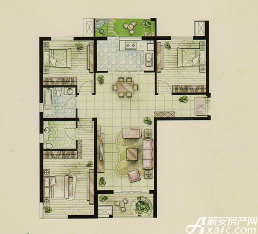 新文采东湖一品A户型爱尚家3室2厅133平米