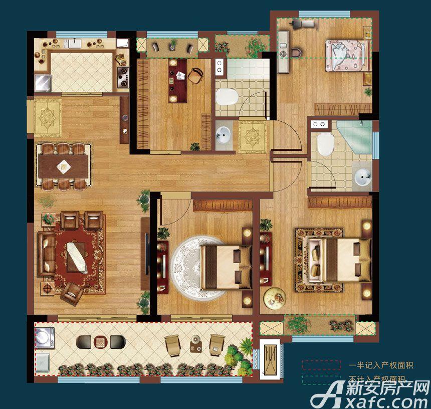 皖新翡翠庄园A1户型4室2厅110平米