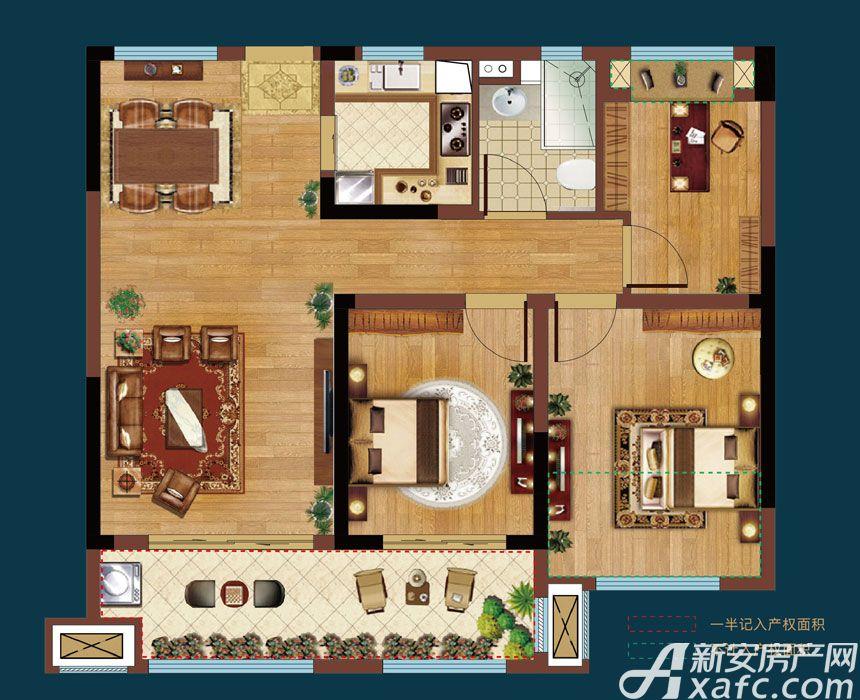 皖新翡翠庄园A2户型3室2厅90平米