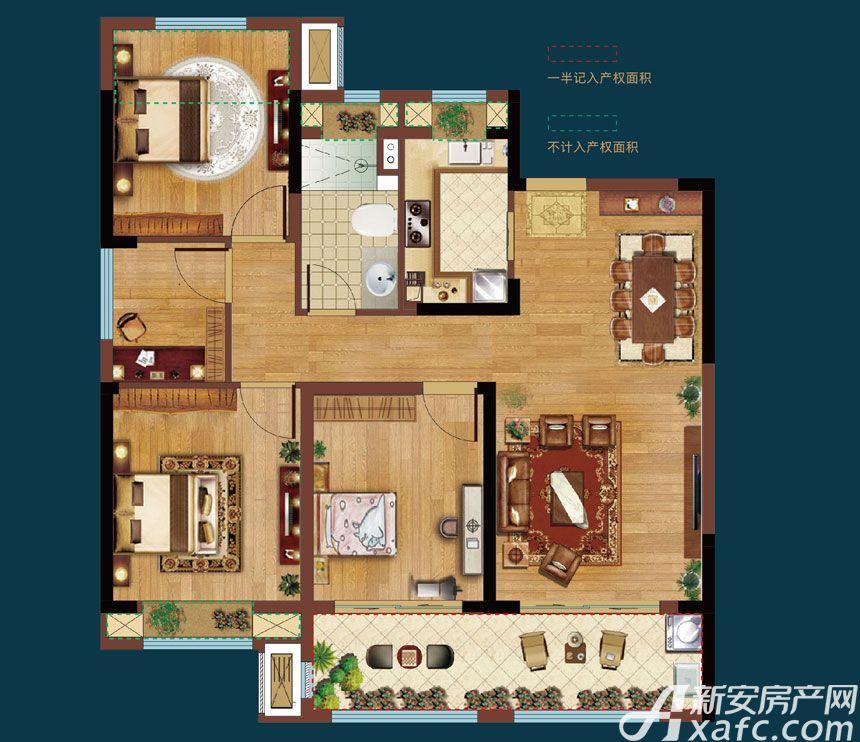 皖新翡翠庄园A3户型4室2厅105平米