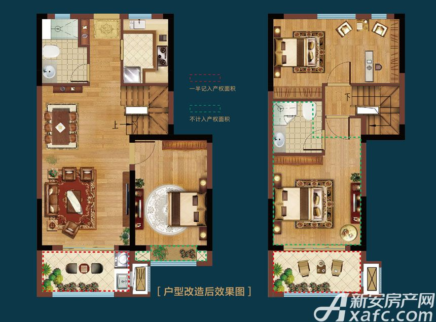 皖新翡翠庄园Y3户型3室2厅100平米