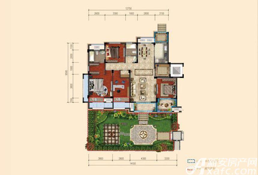 春晖悦府D户型 4室2厅2卫4室2厅140平米