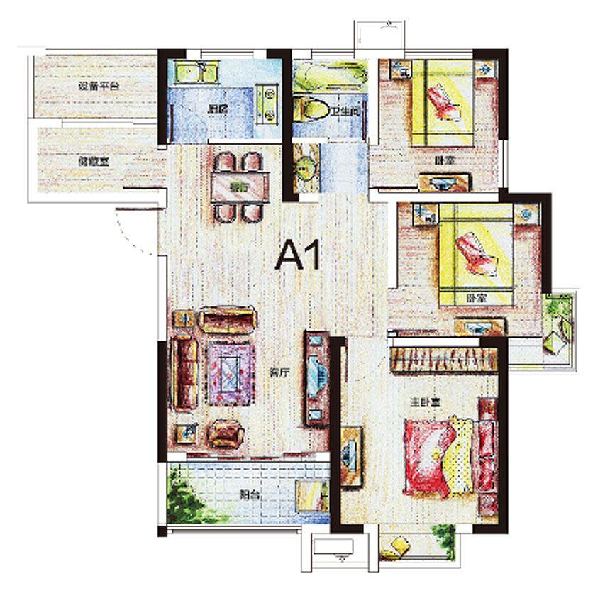 尚泽琪瑞公馆A1户型4室2厅98.73平米