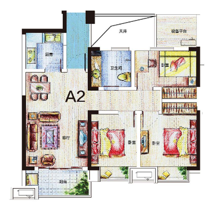 尚泽琪瑞公馆A2户型3室2厅88.27平米