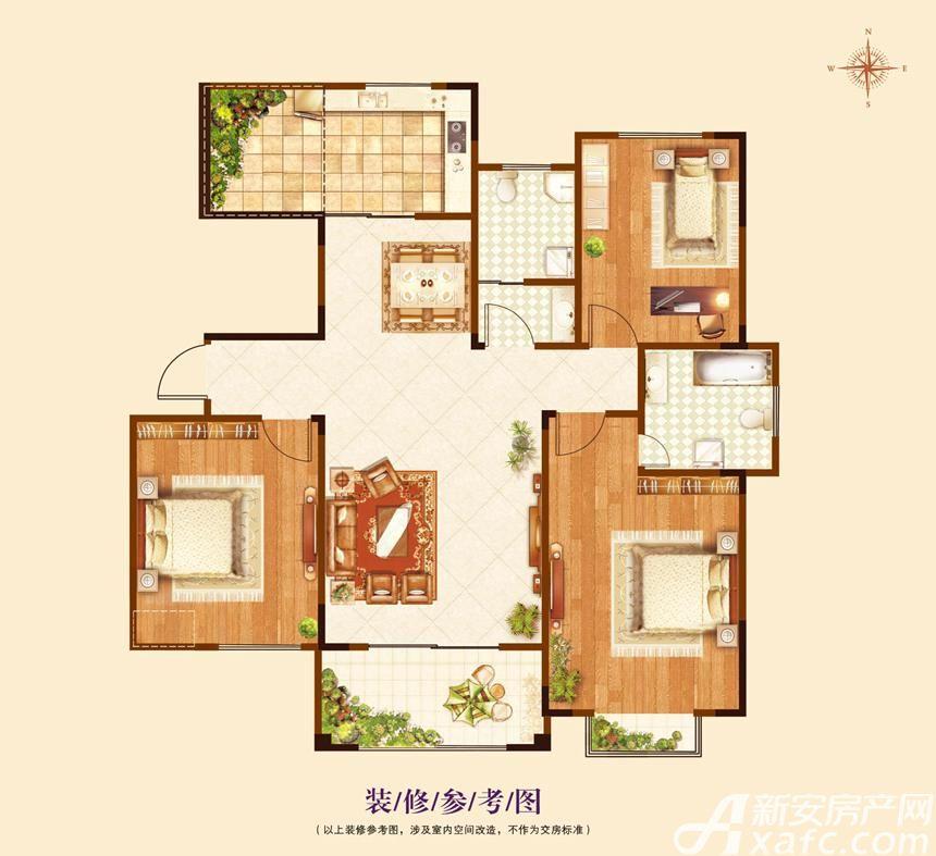 澜山9号院(揽山别院)A2户型3室2厅121平米
