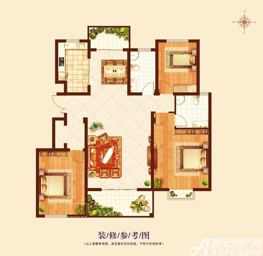 澜山9号院(揽山别院)C2户型3室2厅129平米