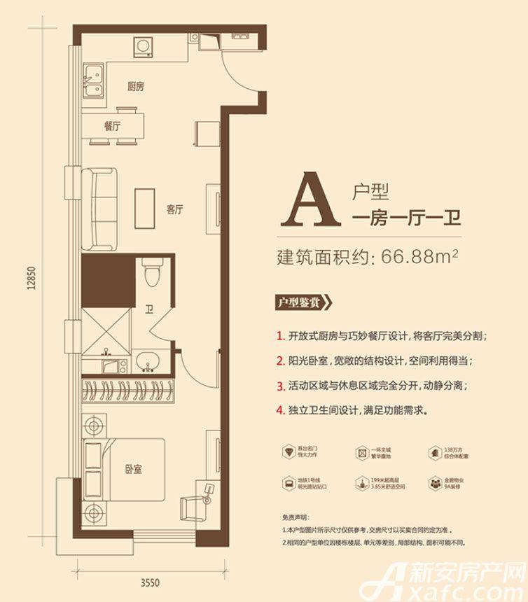 恒大中央广场KingSohoA户型1室1厅66.88平米