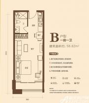 恒大中央广场KingSohoB户型1室1厅58.82㎡