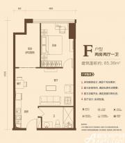 恒大中央广场KingSohoF户型2室2厅85.36㎡