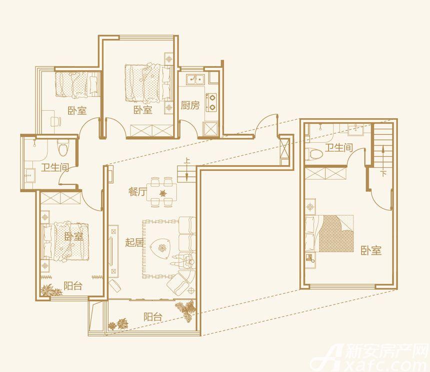 文德公园里Y5户型4室2厅90平米