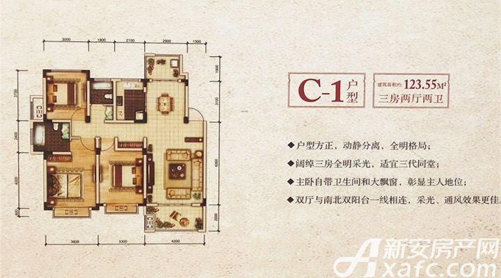 励骏金陵府(励骏首府)C1户型3室2厅123.55平米