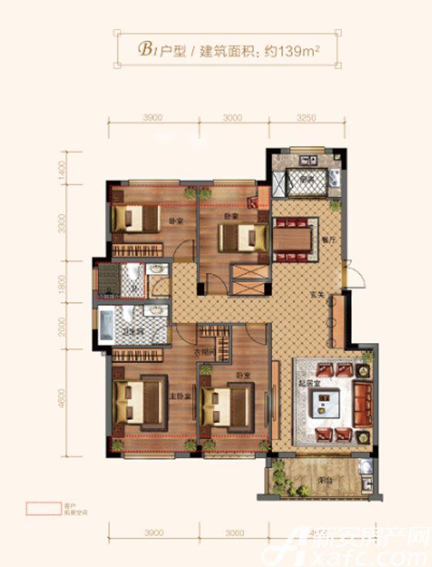 玉兰轩B14室2厅139平米