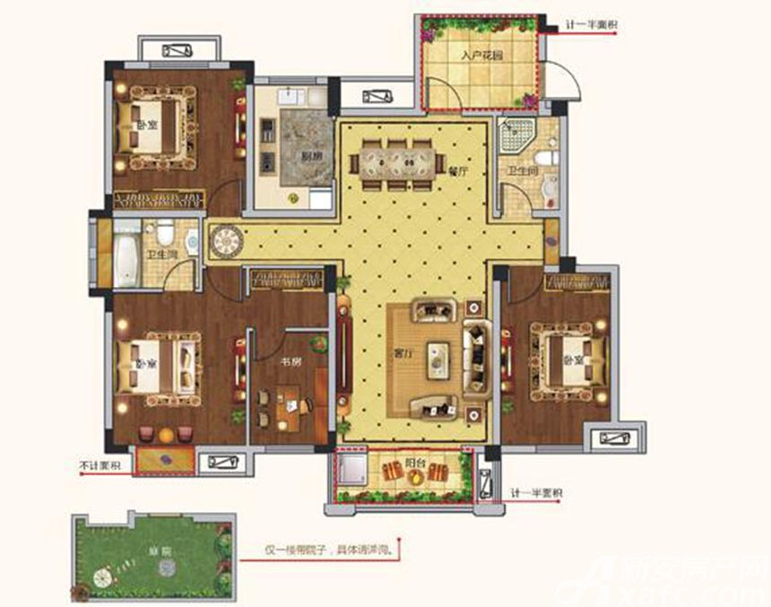 朗诗熙华府C1户型 4室2厅2卫4室2厅141平米