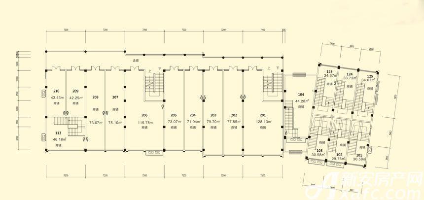 庐江中心城13#楼二层平面图