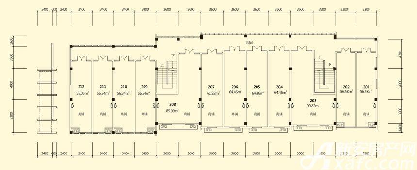 庐江中心城16#楼二层平面图
