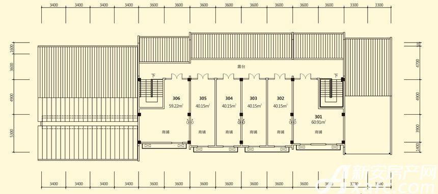 庐江中心城16#楼三层平面图