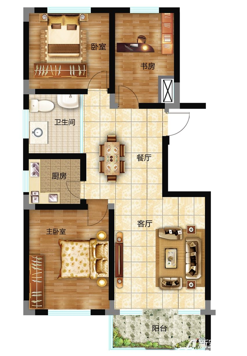 砀城一品113㎡3室1厅113平米