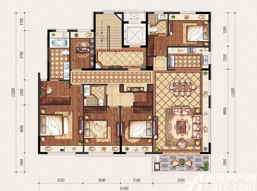 置地·康熙左岸C户型5室2厅190平米