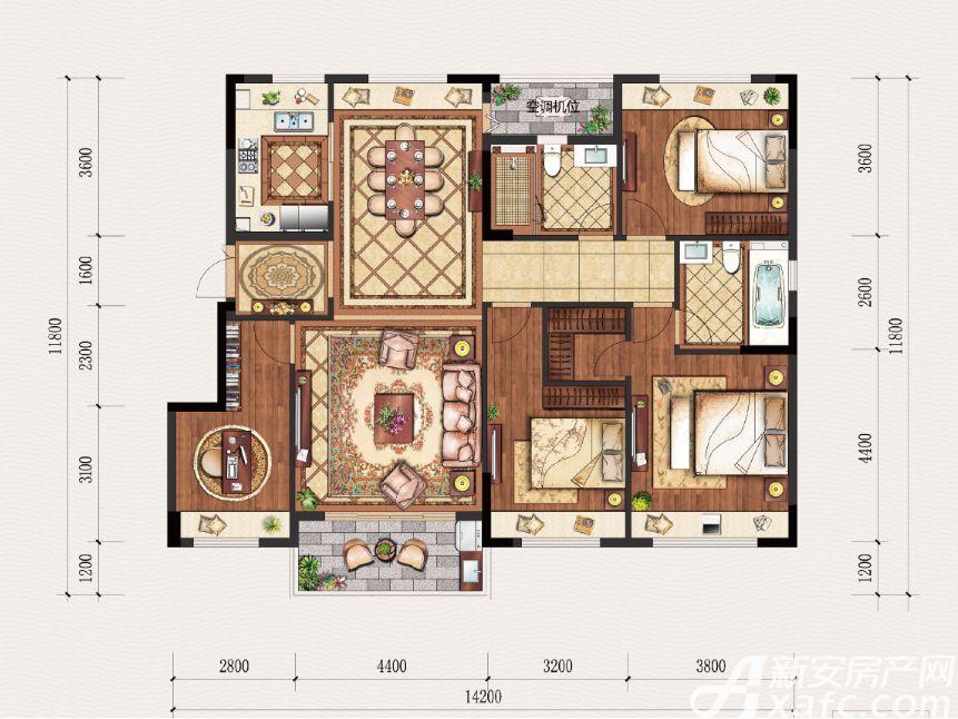置地·康熙左岸B户型4室2厅143平米