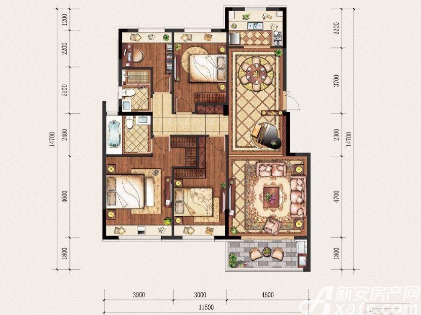 置地·康熙左岸A户型4室2厅136平米
