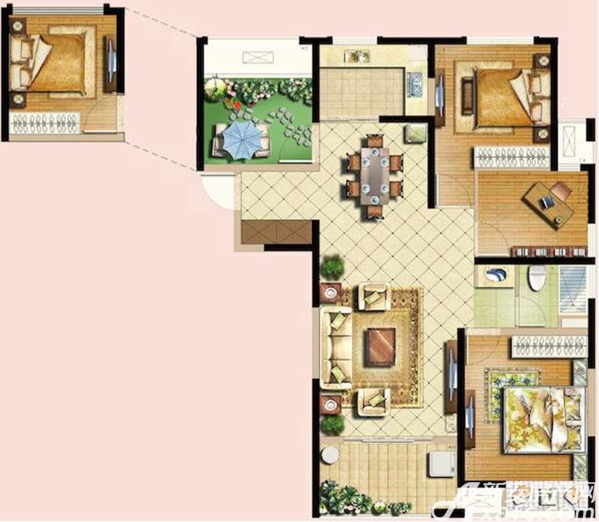 恒生秀山郡A户型高层3室2厅118平米