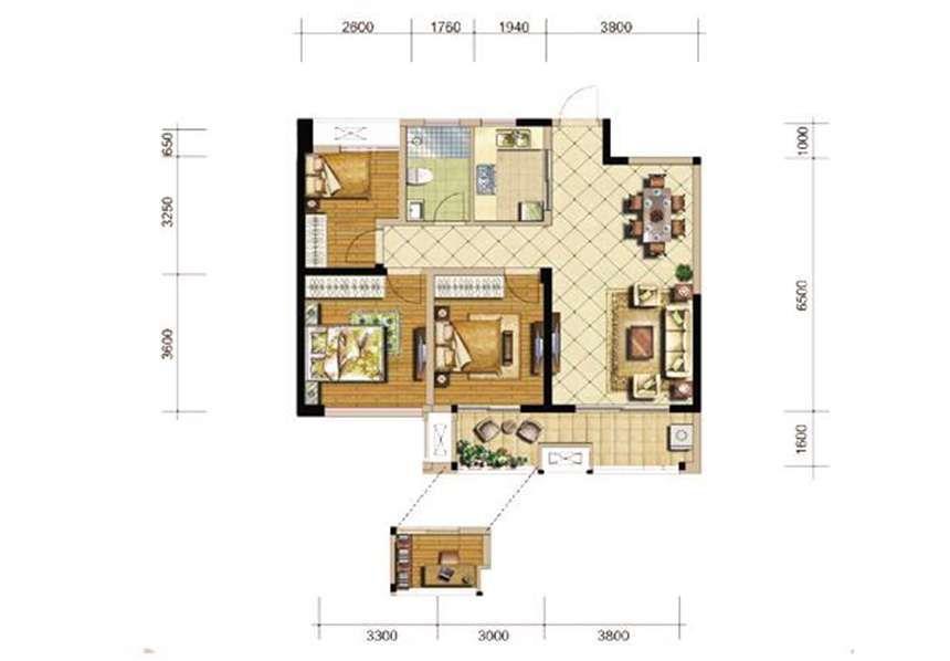 恒生秀山郡E户型3室2厅95平米