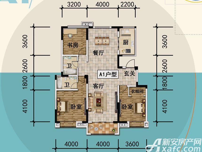 宜秀蓝湾A13室2厅142平米