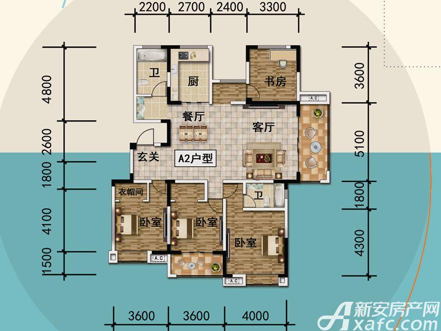 宜秀蓝湾A24室2厅170平米