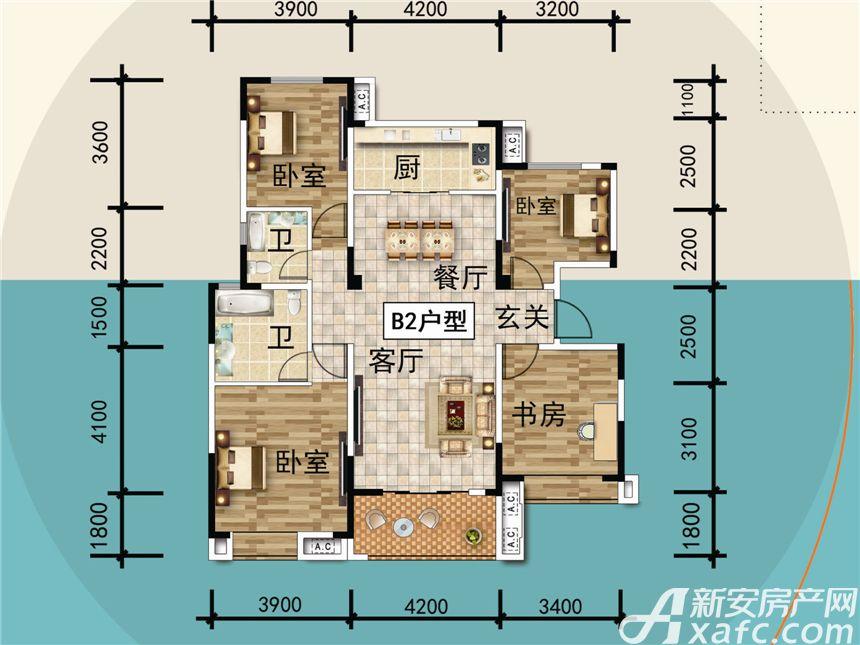 宜秀蓝湾B24室2厅135平米