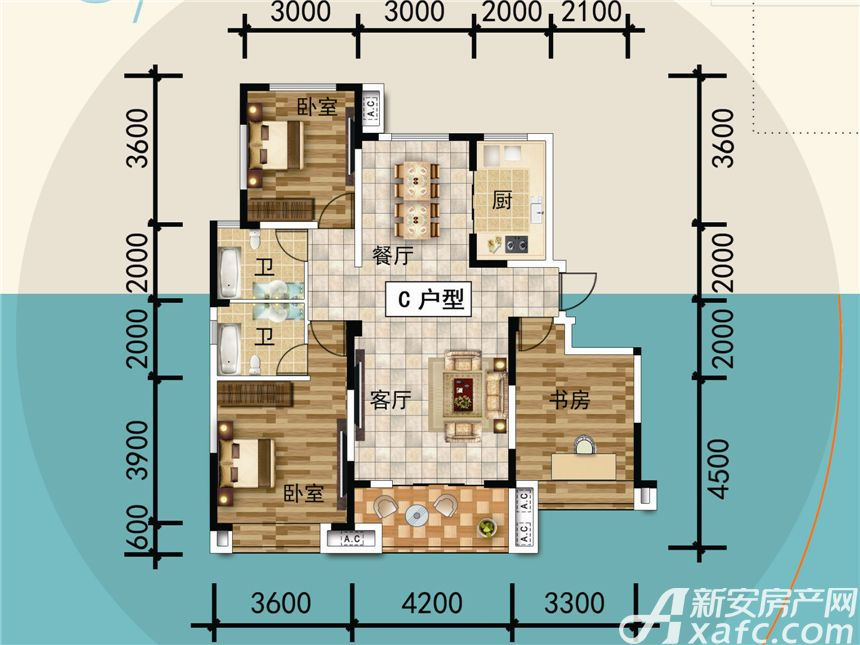 宜秀蓝湾C3室2厅120平米